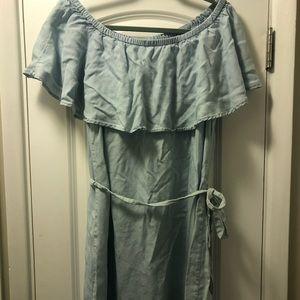 Old Navy Soft Denim Off The Shoulder Dress